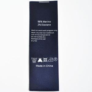 Blue polyester Satin washing care printing label QD-PL-0004