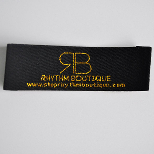 Golden thread woven garment logo label QD-WL-0022