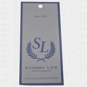Cardboard hangtag in light blue QD-HT-0015
